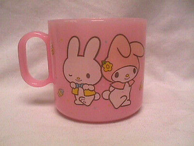 RARE Vtg 1981 Sanrio MY MELODY & Friend Pink Plastic CUP Mug Made in Japan