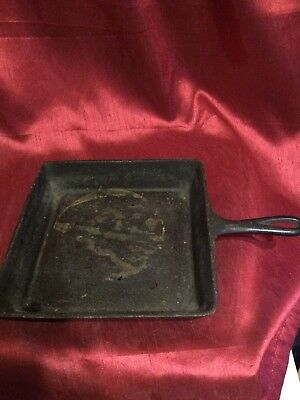 Cast Iron Frying PAN SQUARE SKILLET Deep Dish Antigue VINTAGE Style Western