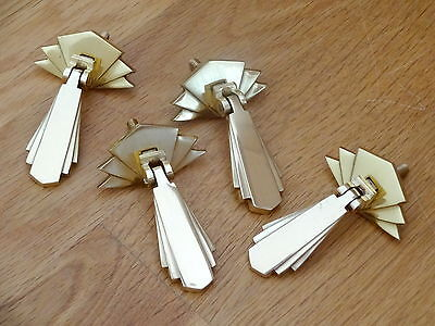 4 X Brass Art Deco Door Or Drawer Pull Drop Handles Cupboard Furniture  Knobs