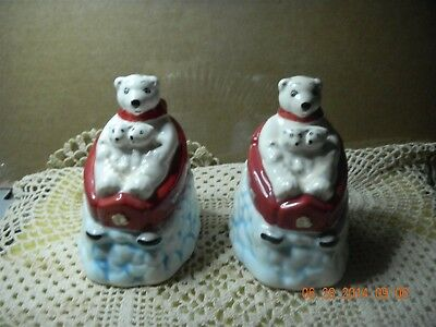Coca Cola Polar Bear With Cubs In Sled Salt & Pepper Shakers
