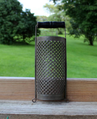 Vintage primitive tin grater with black painted wood handle 8 1/2 inch x 3 1/2