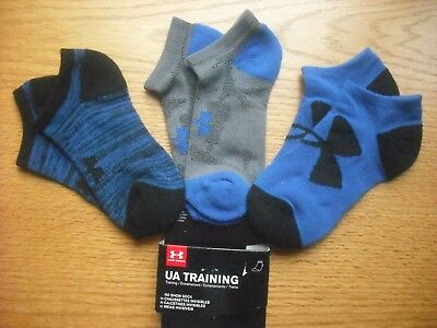 Boys NWT UNDER ARMOUR No-Show Socks 3prs Blue Black Gray Sz:YLG Ages 8-11