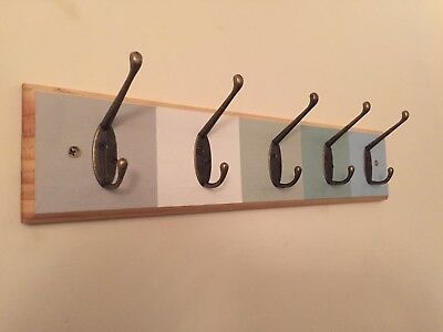 5 hook Shabby Chic Wooden Pine Wall Coat Hanger Rack Holes,fixings Multi colour