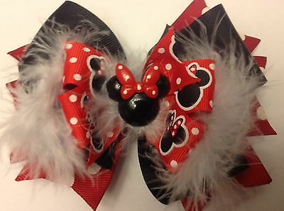 Minnie Mouse Boutique Hair Bow Toddler Homemade Disney Red Dots Ships FREE
