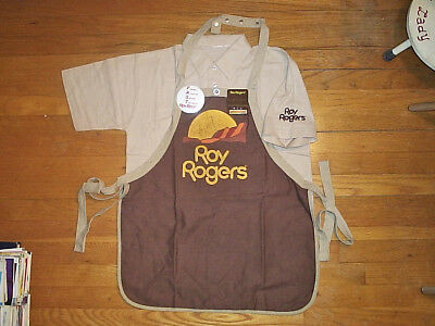 Vintage 1980s Roy Rogers Restaurant EMPLOYEE UNIFORM TOP w Apron and Nametag