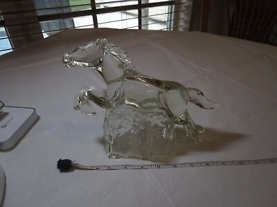 Glass horse topper platform figure race stallion racing trophy base collectible