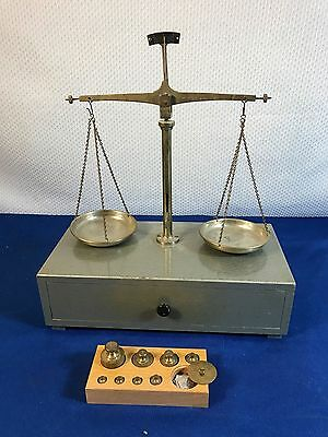 Vintage German Balance Scale with Brass Weight Set