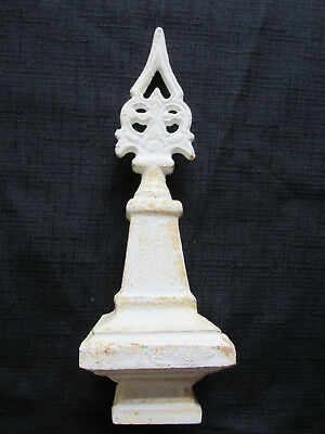 Antique White Cast Iron Decorative Finial Architectural Garden Sculpture 8""