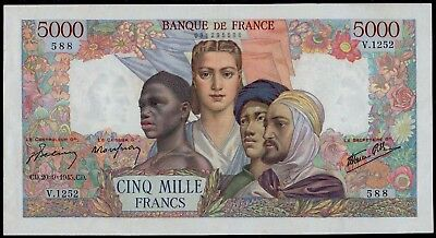 FRANCE 5000 FRANCS EMPIRE FRANCAIS 20-9-1945 VF+/aXF BEAUTIFUL LARGE SIZE NOTE