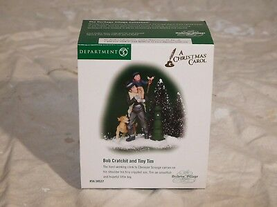 Dept 56 ESTATE SALE!  Dickens Village - Bob Cratchit and Tiny Tim figurine - NEW