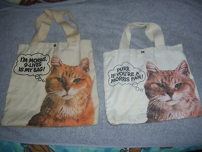 2 Vintage Morris The Cat 9 Lives Cat Food Advertising Cloth Tote Bags