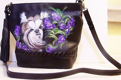 Shih Tzu dog hand painted black genuine leather Olivia+Joy crossbody bucket bag