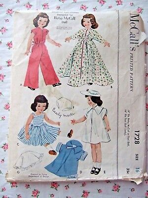 """VINTAGE 1952 McCALL'S PATTERN #1728 FOR 16"""" BETSY McCALL OR TONI TYPE DOLLS"""