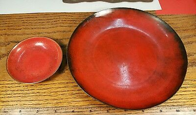 2 Vintage Jade Snow Wong Enamel On Copper Red Bowl dish San Francisco Metalware