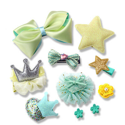 10Pcs/set Child Girl Hair Clip Bow Flower Barrettes Party Kids Hairpins Hairband