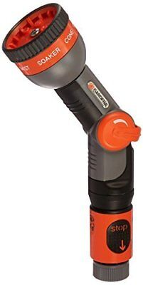Spray Nozzle with Angle Adjustable Head & Click Lock for Hose 7 Pattern Orange