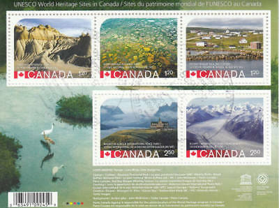 Canada 2015 Unesco World Heritage Sites Souvenir Sheet, #2857 Used