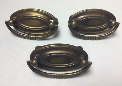 Lot of 3 Antique Vintage Small Oval Bail Brass Dresser Drawer Pulls Handles Old