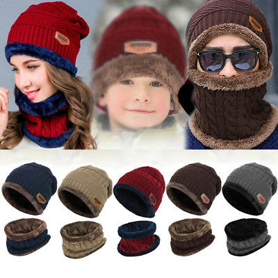 2pcs Kids Parents Winter Warm Knitted Hat+Scarf with Fleece Lining Unisex Hot