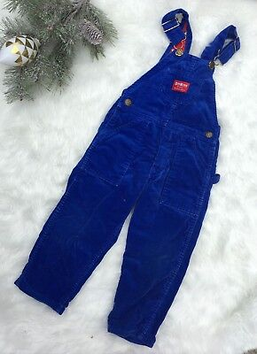 Vtg OshKosh Bib Overalls Blue Wale Corduroy Flannel Lined USA Made Kids Size 4T