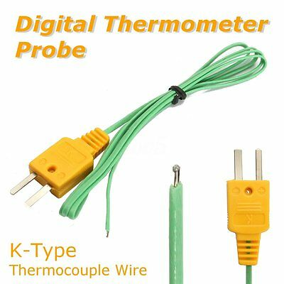 Lot 10x K-Type Thermocouple Wire Digital Temperature Mesure Sensor Probe Tester