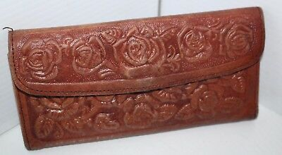 Vintage Hand Tooled Roses Leather Clutch Wallet Mexico