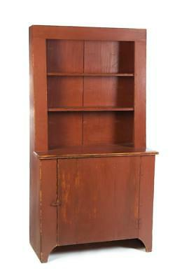 AMERICAN COUNTRY STEPBACK CUPBOARD. Lot 659