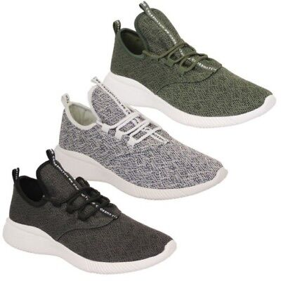 Mens Trainers Crosshatch Running Speed Lace Up Knit Mesh Sports Gym Shoes Casual