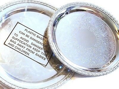 """Very Nice Pair of 8"""" and 9.5"""" Chrome Serving Decor Plates"""