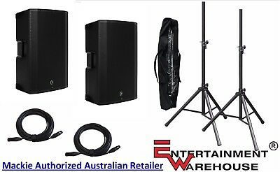 2 x THUMP15A2 Mackie Speakers + 2 x Stands with Bag + 2 x 10mtr XLR Cables