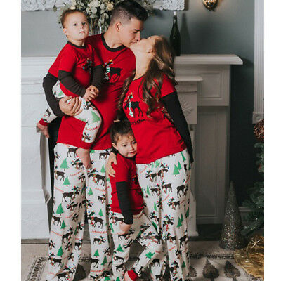 Family Matching Christmas Pajamas PJs Sets Xmas Sleepwear Nightwear Sets