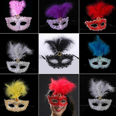 Fashion Sexy Lace Patch Half Face Feather Mask for Halloween Masquerade Party
