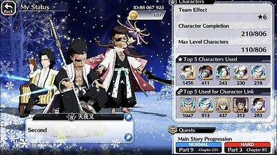 PM offers please Bleach Brave Souls 3/4 TYBW Account plus over 1200 orbs