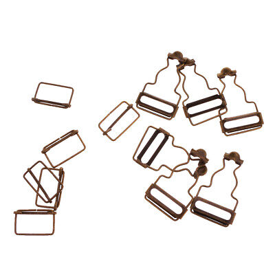Set of 6 Bronze Dungaree Fasteners Overall Clips Brace Buckles Adjuster 32mm