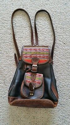 Vintage Bolivia Peru ethnic leather backpack style hand bag great condition
