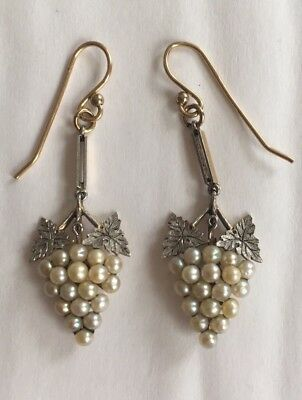 15ct Gold Platinum & Pearl Antique Earrings