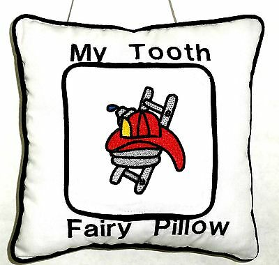 Tooth Fairy Pillow embroidered Fire Hat&Ladder on White Cotton 45 New Handmade