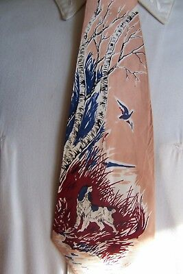 vintage mens ties 1940's lets go hunting dog and his bird town craft delux