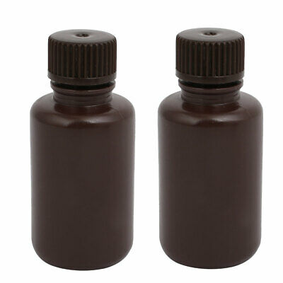 60ml 13mm Diameter HDPE Plastic Round Wide Mouth Laboratory Bottle Brown 2pcs