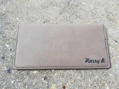 Personalized Light Brown Leather Checkbook Cover