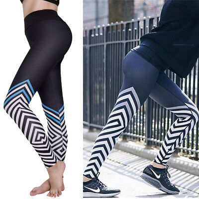 Women Waist Stripe Fitness Leggings Yoga Pants Sports Running Athletic Trouser