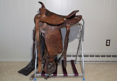 """15"""" Big Horn Pioneer trail saddle hand tooled flower leather western ranch horse"""
