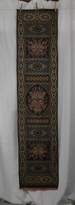 silk tapestry table sideboard  runner antique 1920  silver black 70 in.