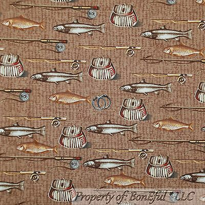BonEful Fabric FQ Cotton Quilt VTG Brown Gold Fish Pole Rod Country Camp Cabin S