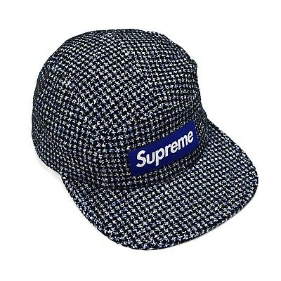 eb8dbc75d24 NWT Supreme NY Mens Blue Box Logo Houndstooth Boucle Camp Cap Hat FW17  AUTHENTIC