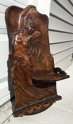 Art Nouveau Carved Figural Semi Nude Maiden Pipe Rack/Plaque W/ Humidor Shelf