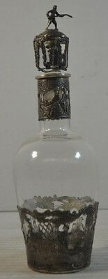 Antique Glass Bottle with Dutch Export Silver Liner
