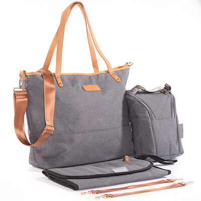 Nappy Changing Bag Tote With Matching Changing Mat, Food Pouch & Stroller Straps