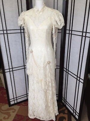 Susan Lane's Country Elegance Vintage Victorian Wedding Dress Lace Satin Size 8