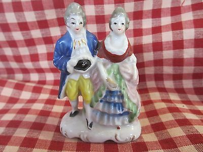 Handpainted Victorian couple figurine  Lovely Occupied Japan antiquered stamp